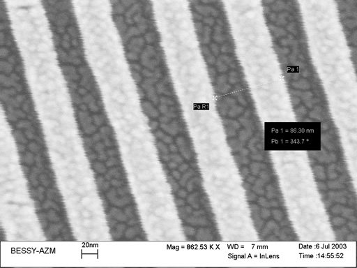 Strips of width near 40 nm created in PMMA resist