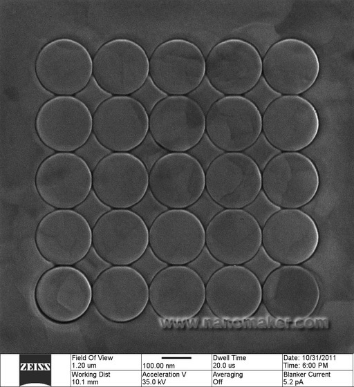An array of circles on the surface of platinum
