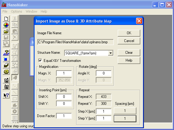 Import Image as Dose & 3D Attribute Map dialogue